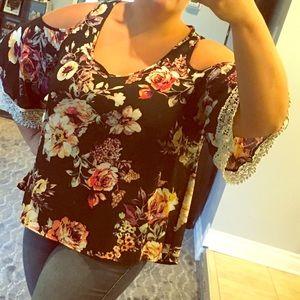 Floral cold shoulder blouse